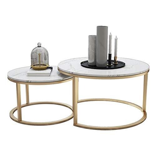Muebles de decoración del hogar Conjuntos de mesas de Nido apilables para decoración del hogar, mesas Redondas de té/café | Conjuntos de 2 mesas de cóctel Que terminan superpuestas en la Sala de e