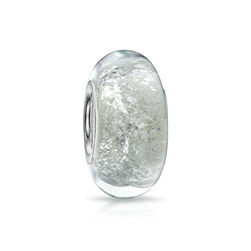 Bling Jewelry Weiße Glitter Folie Regenbogen Murano Glas 925 Sterling Silber Spacer Perle Passt Europäische Charm Armband Für Frauen Für Teen