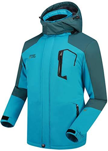 Warme Gefüttert Winterjacke Herren Softshelljacke Wasserdicht Atmungsaktiv Wanderjacke Outdoor Funktionsjacke Sport Regenjacke Blau L
