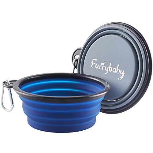 Rest-Eazzzy Collapsible Dog Bowls for Travel, 2-Pack DogPortableWaterBowl for Dogs Cats Pet Foldable Feeding Watering Dish for Traveling Camping Walking with 2 Carabiners, BPA Free