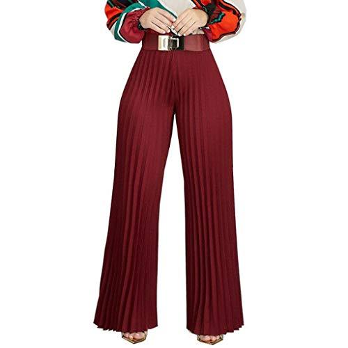 Kolylong Damen Lose Weites Bein Hose Elastische Taille Hosenrock Capri Hose Freizeithose Hohe Taille Elegant Slim Fit Einfarbig Plissee Hosen Locker Weite Beine Lange Hose