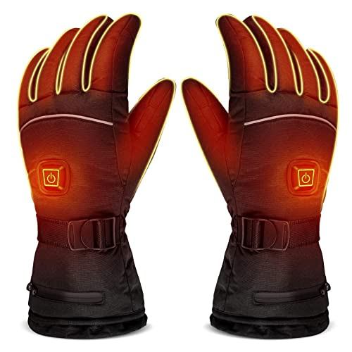 YZDKJDZ Heated Cycling Gloves, Rechargeable Battery Motorcycle Warm Gloves, for Cold Weather Work Ski Skate Hiking Camping Hunting