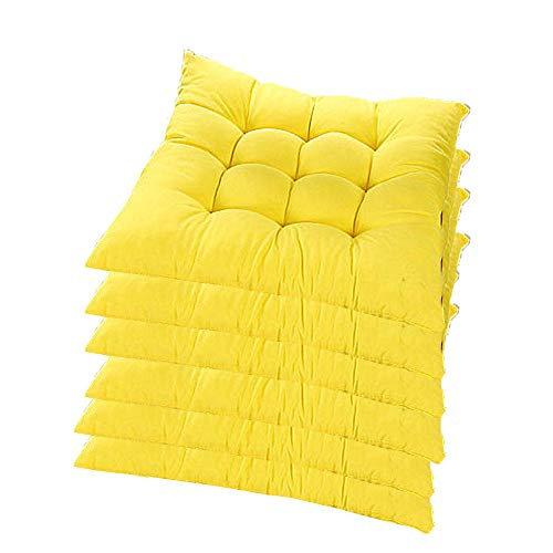 6er Set Stuhlkissen mit Bänder, 40x40x5cm, Sitzkissen für Stühle drinnen und draußen (Mehrere Farben zur Auswahl) (Gelb)