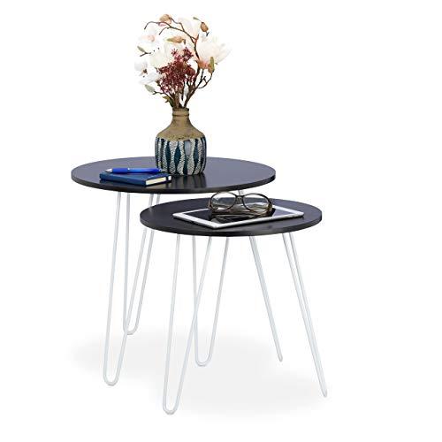Relaxdays Beistelltisch 2er Set, rund, Satztische Flur, Wohnzimmer, Couch, klein, 3 Metallbeine, Ø 40 und 48 cm, schwarz