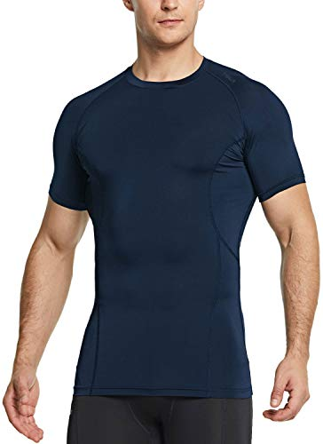 TSLA Men's Cool Dry Short Sleeve Compression Shirts, Athletic Workout Shirt, Active Sports Base Layer T-Shirts, Active(mub33) - Navy, Medium
