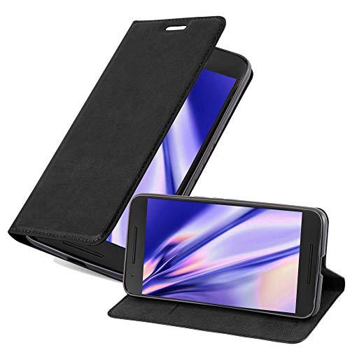 Cadorabo Hülle für Huawei Nexus 6P - Hülle in Nacht SCHWARZ – Handyhülle mit Magnetverschluss, Standfunktion & Kartenfach - Case Cover Schutzhülle Etui Tasche Book Klapp Style