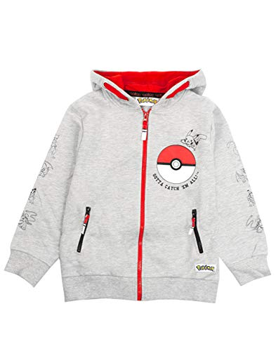 Pokèmon Sudadera con Capucha para niños | Pokeball Gotta Catch Em All Zip Up Jumper | Pikachu Gris y Rojo Sudadera para niños | Manga Larga, Capucha y Bolsillos