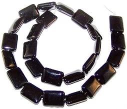 15 Inch Strand of 12x16mm Puff Rectangle Semiprecious Gemstone Beads - Black Onyx