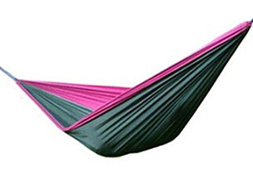 LY Hamac Nylon Toile de Parachute Pour Camping Jardin voyage deux personnes Charge 120kg 260×140cm - Violet et Vert