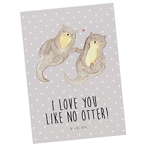 Mr. & Mrs. Panda Grußkarte, Einladung, Postkarte Otter händchenhaltend mit Spruch - Farbe Grau Pastell