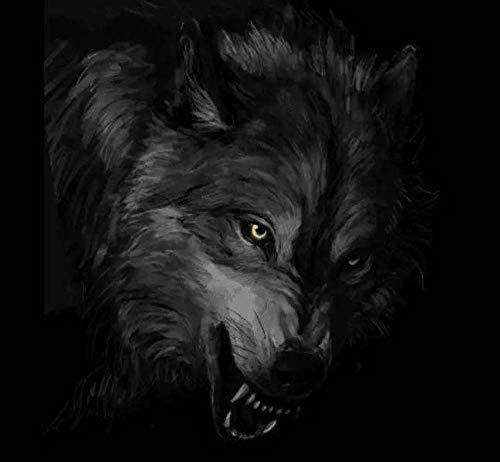 XIAOZHANG Diamond Painting Bilder Voller Runder Bohrer Cartoon Grauer Wolf Painting Printed Für Anfänger Wanddekoration 30X40Cm