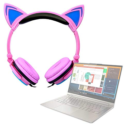 """DURAGADGET Auriculares Plegables estéreo con diseño de Orejas de Gato en Color Rosa Compatible con Portátil Lenovo Yoga C940 (15""""), Lenovo Yoga C940 (14"""")"""