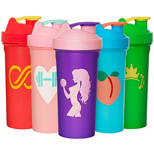 JEELA SPORTS 5 Pack Shaker Bottles for Protein Mixes  24 Oz Shaker Cups for Protein Shakes with Mixing Ball  Bpa Free Protein Shaker Bottle Set  Leakproof Design  Perfect Gym Fitness Gift