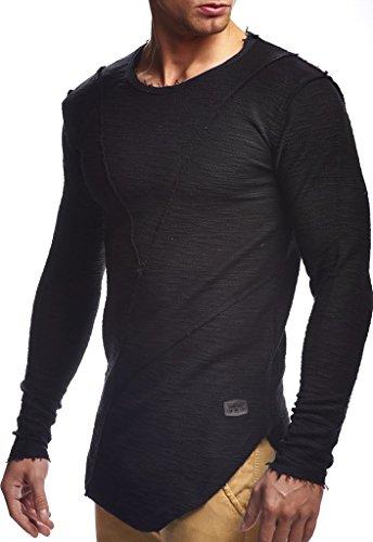 Leif Nelson Herren Pullover Hoodie Kapuzenpullover Sweatjacke Longsleeve Sweatshirt Jacke Basic Rundhals Langarm Oversize Shirt Hoody Sweater LN6323; Größe M; Schwarz
