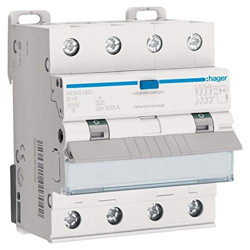 Preisvergleich Produktbild Hager FI / LS-Schalter ADX416D 4-polig,  10kA Kombination FI-Schalter / Leitungsschutzschalter 3250611016960
