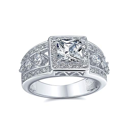 Bling Jewelry Estilo Art Deco Princesa Cuadrado Cut Halo AAA CZ Compromiso Mujer 3 Hileras Ancho Banda Esa Anillo Plata Sterling