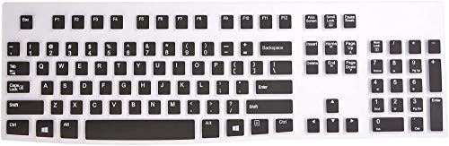 WENWELL Compatible with Logitech MK120 K120 Keyboard Cover Skin,Silicone Keyboard Protector Accessories for Ergonomic Desktop USB Wired Keyboard,Black