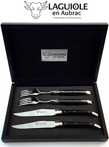 Original Laguiole en Aubrac ® vierteiliges Premium Steakbesteck geschmiedet für zwei Personen Ebenholz