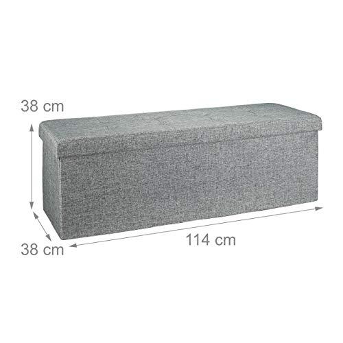 Relaxdays faltbare Sitztruhe XL 114x38x38cm, Leinen, grau - 4