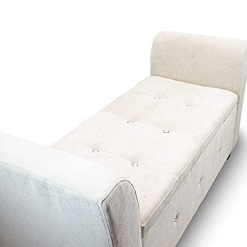 Sitzbank Sitztruhe Zweisitzer Polsterbank Fensterbank Ottomane Zweisitzer Mini Couch Kinder Couch mit Stauraum 136x45x66 (Silbergrau) - 4