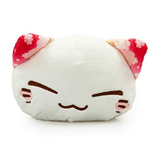 Nemu Nemo Neko Kuscheltier Katze Blumenmuster Ohr Rosa Manga Anime Otaku Kawaii Stofftier Plüschtier Plush Cat Merchandise zum Kuscheln Original aus Japan Höhe 25cm und Breite 34cm