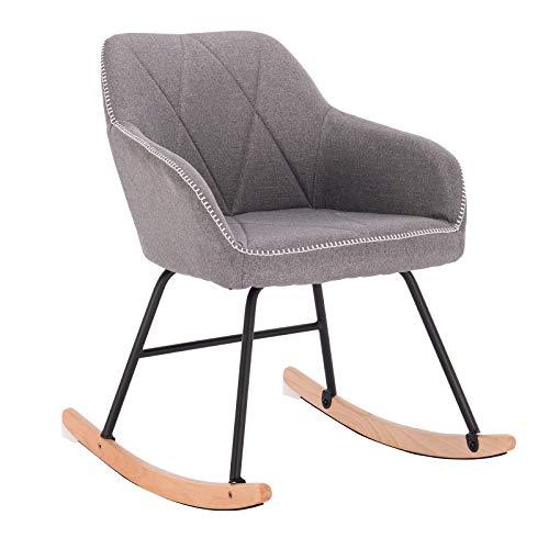 WOLTU Rocking Chair Light Grey Rocker Relax Chair Lounge Chair Recliner Relaxing Chair Linen with Comfortable Padded Seat