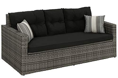 Dehner Flecht-Sitzbank Föhr, mit Aufbewahrungstruhe/Kissen,178 x84 x 75 cm,Aluminium/Kunststoff/Polyester, dunkelgrau