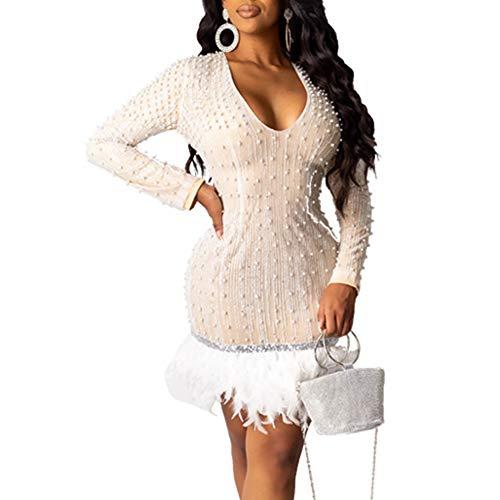 Damen Rundhalsausschnitt Kleider Bodycon Lange Ärmel Federbesatz Partykleid Mode Kleid Minikleid Kleidung Cocktailkleider,Beige,M