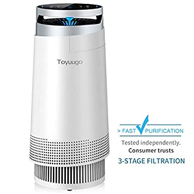 toyuugo Air Purifier, True HEPA Air Cleaner with Active Carbon Filters, Compact Purifiers Filtration with Night Light, No Ozone, PM Eliminator Cleaner for Allergies, Home, Pets Dander, Smokers