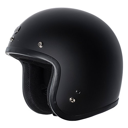TORC (T50 Route 66) 3/4 Motorcycle Helmet with Solid Color (Classic Flat Black)