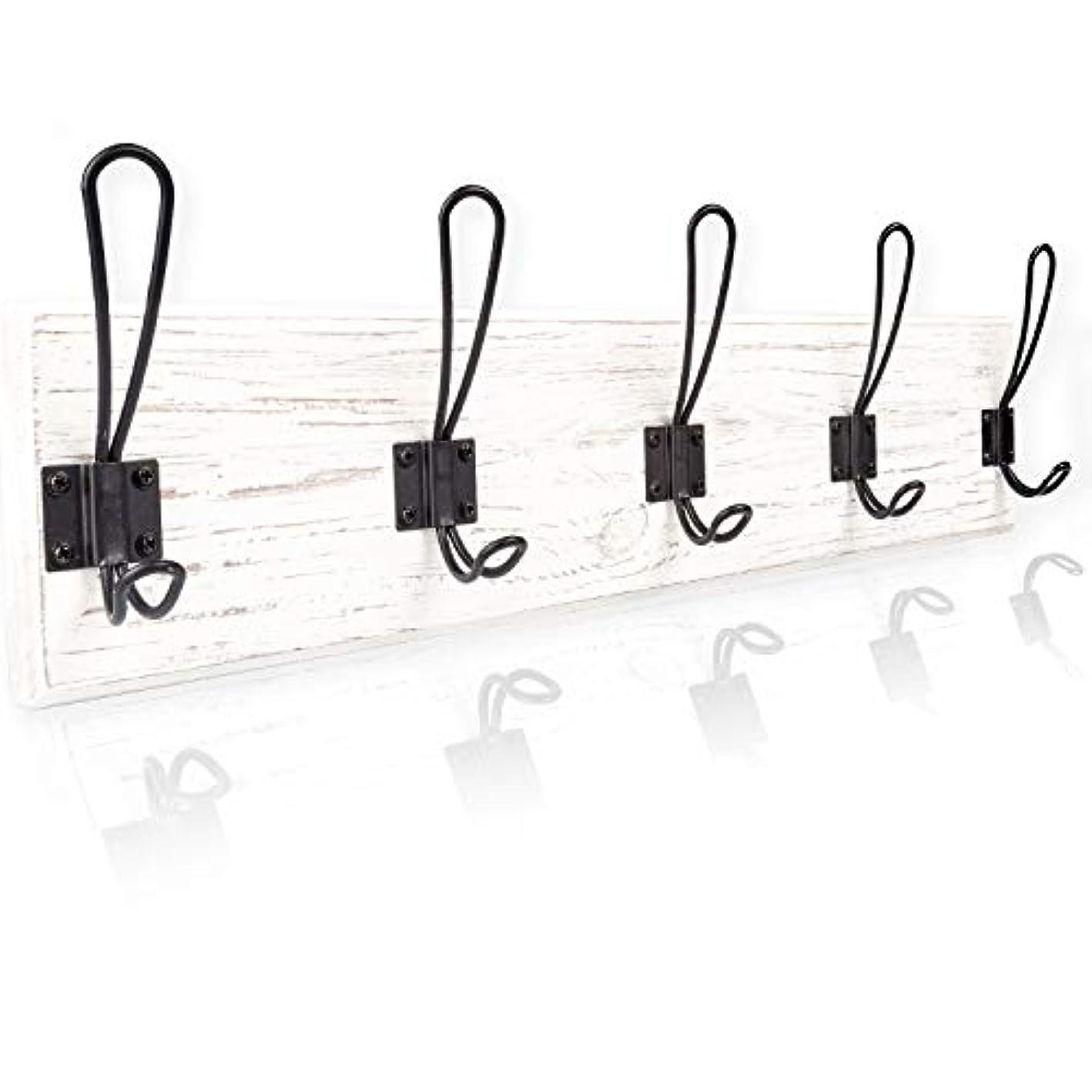 Wall Mounted Coat Rack - Rustic Wooden 5 Hook Coat Hanger Rail, White Distressed Wood, Black Metal Hooks