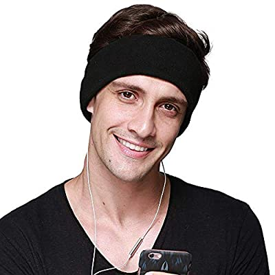 CHOKMAX Sleep Headphones, with Ultra Thin Adjustable Speakers Comfortable Soft Fleece Headband Sleep Eye Mask for Sleeping, Perfect for Air Travel, Sports, Relaxation, Meditation and Insomnia - Black from CHOKMAX