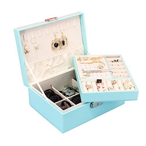 Caja de joyería Organizador de joyería de viaje con bloqueo y bandeja extraíble para anillos Pendientes y collar Regalo para mujeres niñas