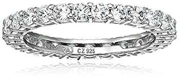 Amazon Essentials Platinum Plated Sterling Silver Round Cut Cubic Zirconia All-Around Band Ring  2.5mm  Size 7