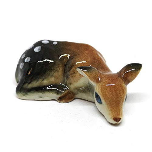 ZOOCRAFT Ceramic Deer Bambi Figurine Craft Miniature Collectible Porcelain Animal Gift