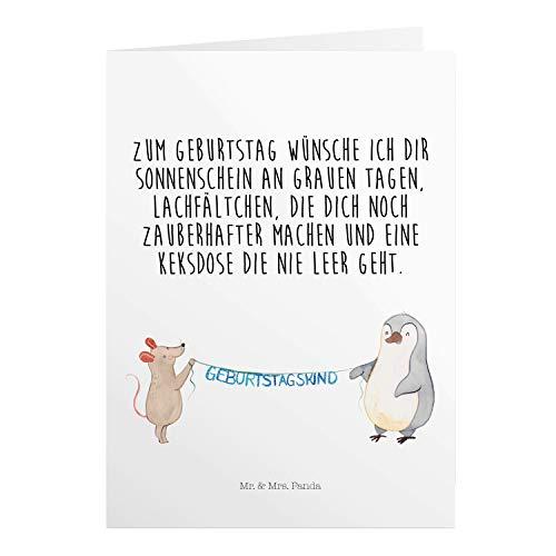 Mr. & Mrs. Panda Geburtstagskarte, Klappkarte, Grußkarte Maus Pinguin Geburtstag mit Spruch - Farbe Weiß