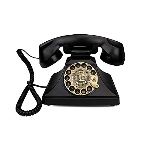 ZHPBHD Teléfono Teléfono Antiguo Negro con Cable Teléfonos caseros Retro Moda Antigua Teléfono de teléfono Fijo Teléfono Vintage para la decoración de la Oficina en casa (Color : Rotary dial)