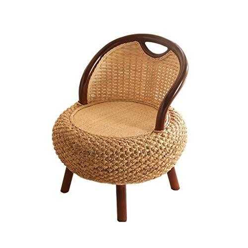 Silla baja de ratán interior, asiento de meditación de piso tejido a mano, silla de tatami japonesa con espalda para seminarios / lectura / televisión de observación / juego, totalmente ensamblado