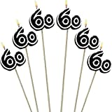 Amscan Numerical Candles, 60th Celebration Candles on a Stick, Party Supplies, Multicolor, 9 1/2