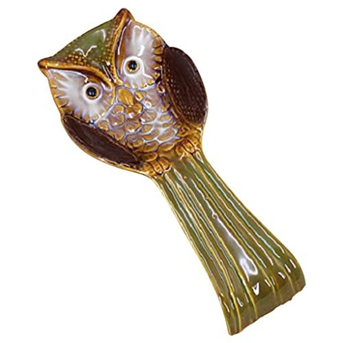 H HILABEE Poggia cucchiaio Ceramica Porcellana Portautensili a forma di animale Custode per ristorante Fattoria Piano cottura Cucina Decor Spatola Mestolo - verde