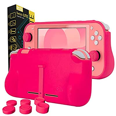 Orzly Grip Case for Nintendo Switch Lite – Case with Comfort Padded Hand Grips, Kickstand, Pack of Thumb Grips - Pink
