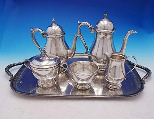 Check Out This Exemplar by Watson Sterling Silver Tea Set 5-Piece w/SP Tray c.1714-1727 (#4574)