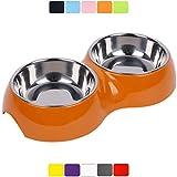 DDOXX Doppel-Fressnapf, rutschfest | viele Farben & Größen | für kleine & große Hunde | Futter-Napf Katze doppelt | Hunde-Napf Hund | Katzen-Napf Edelstahl-Napf | Melamin-Napf | Orange, 2 x 350 ml