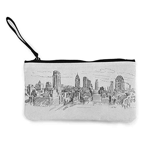 "TTmom Carteras de Mujer,Monedero,New York Hand Drawn NYC Cityscape Tourism Travel Industrial Center Town Modern City Design Wallet Coin Purses Clutch W 8.5"" x L 4.5\"" Grey White"