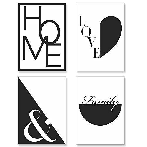 PREMYO Quadri Moderni Soggiorno Astratti - Set Poster da Parete Stampe Camera da Letto - Cuore Home Love A4