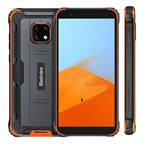 Movil Resistente, Blackview BV4900, Android 10 IP68 Impermeable Smartphone, 5580mAh Batería, 3GB +32GB, Pantalla 5.7, Cámara 8MP+5MP, NFC, GPS, Dual SIM 4G, Naranja