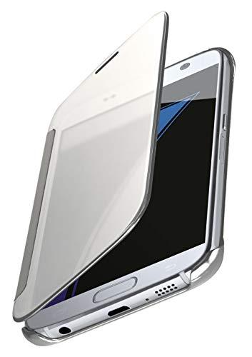 MoEx® Dünne 360° Handyhülle passend für Samsung Galaxy S7 | Transparent bei eingeschaltetem Display - in Hochglanz Klavierlack Optik, Silber