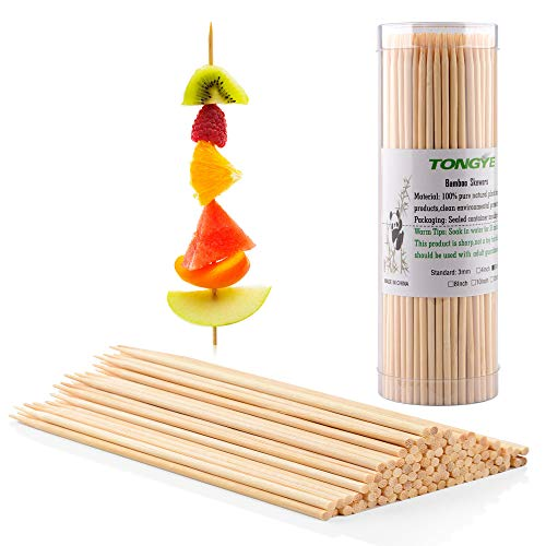 Premium Natural BBQ Bamboo Skewers for Shish Kabob, Grill, Appetizer, Fruit, Corn, Chocolate Fountain, Cocktail and More Food, More Size Choices 4'/6'/8'/10'/12'(200 PCS)
