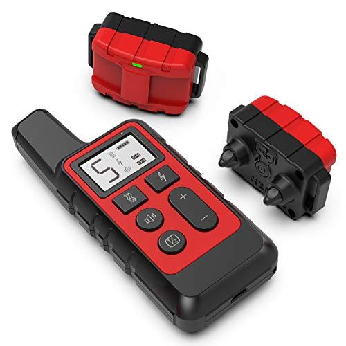 Collares para perros antiladridos con control remoto de 800 m, dispositivos disuasivos de ladridos para perros con modos de descarga eléctrica / vibración / sonido para adiestramiento de perros,Rojo