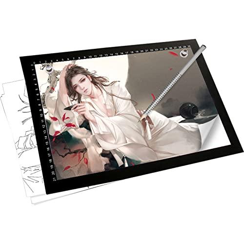 XLOO Tablero De Dibujo Óptico,Mesa de Luz para Calcar A4 / A3 / A2 / A1,atenuador Externo,Escala Luminosa,USB Totalmente Compatible,Utilizado para Pintar,Dibujar, Pintura de Diamantes
